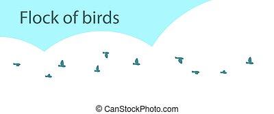 A flock of small birds against the sky.