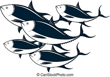 A flock of tuna vector