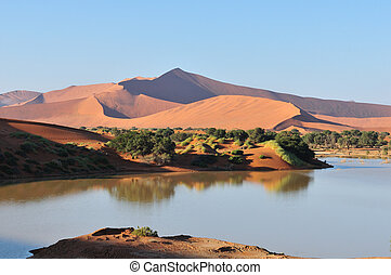 A flooded Sossusvlei in the Namib - A rare sight: Sossusvlei...