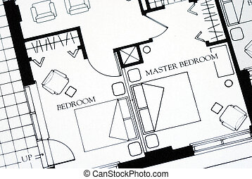 A floor plan focused on the master bedroom
