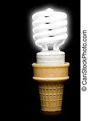Florescent Light Bulb Ice Cream Cone