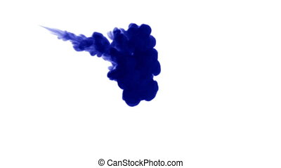 A flow of isolated blue ink inject. Blue colour dissolves in...
