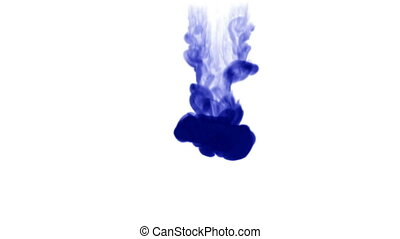 A flow of isolated blue ink inject. Blue paint splatters in water, shot in slow motion. Use for inky background, backdrop with smoke, ink effects, alpha channel is on use for it luma matte