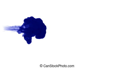 A flow of isolated blue ink inject. Blue pigment dissolves in water, shot in slow motion. Use for inky background, backdrop with smoke, ink effects, for alpha channel use luma matte