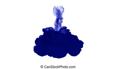 A flow of isolated blue ink inject. Blue gouache splatters in water, shot in slow motion. Use for inky background, backdrop with smoke, ink effects, alpha channel is on use for it luma matte