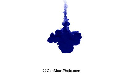 A flow of isolated blue ink inject. Color splatter in water, shot in slow motion. Use for inky background, backdrop with smoke, ink effects, alpha channel is on use for it luma matte