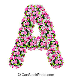 A, flower alphabet isolated on white with clipping path