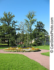 A flower bed in the Botanical Gardens of St. Petersburg