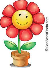 Illustration of a flower inside a pot on a white background