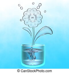 A flower made of water in a glass of water