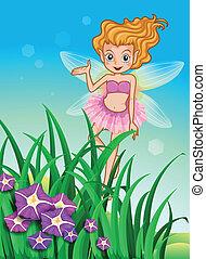 A flower pixie at the garden