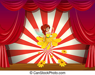 A flower pixie at the stage