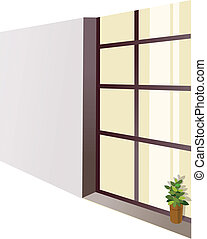 A flowerpot on a window sill