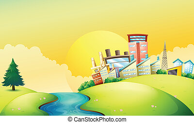A flowing river beside the factories - Illustration of a...