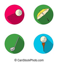 A flying ball, a yellow umbrella, a golf club, a ball on a stand. Golf Club set collection icons in flat style raster, bitmap symbol stock illustration web.