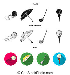 A flying ball, a yellow umbrella, a golf club, a ball on a stand. Golf Club set collection icons in black, flat, monochrome style bitmap symbol stock illustration web.