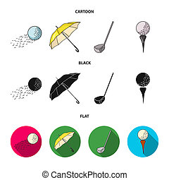 A flying ball, a yellow umbrella, a golf club, a ball on a stand. Golf Club set collection icons in cartoon, black, flat style bitmap symbol stock illustration web.