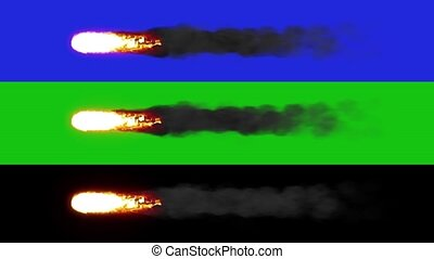 A flying meteorite on the chromakey. Blue, green, black. HD...