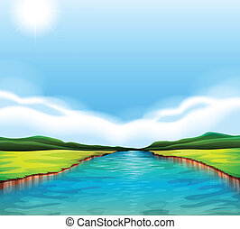 a, flytande, flod
