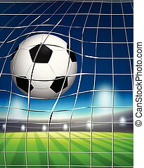 A football at the goal