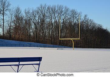 A football field in winter