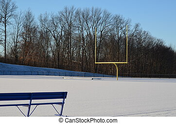 A football field in winter