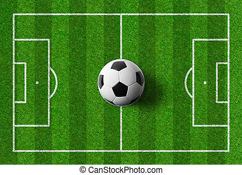A football field with a ball in the middle