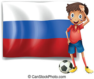 A football player beside the flag of Russia