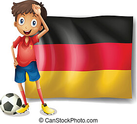 A football player in front of the flag of Germany