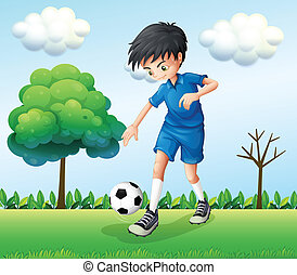 A football player wearing his blue uniform