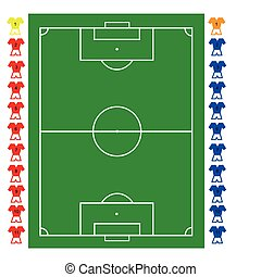 A football, soccer pitch tactical vector with two teams of...