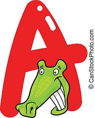 cartoon illustration of A letter for alligator