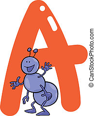 A for ant - cartoon illustration of A letter for ant