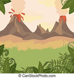 A Forest Landscape with Volcano and jungle plants