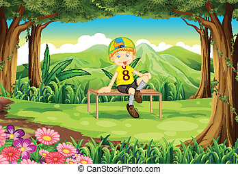 A forest with a boy sitting above the table