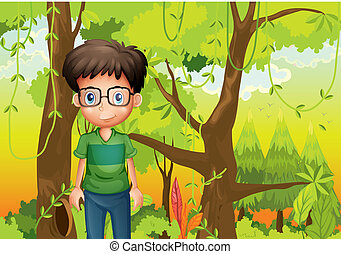 A forest with a boy wearing an eyeglass
