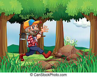 A forest with a cheerful woodman - Illustration of a forest...