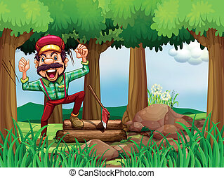 A forest with a happy and a hardworking woodman