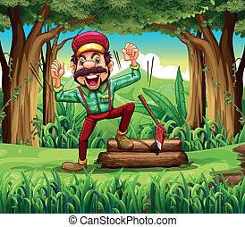 A forest with a happy lumberjack - Illustration of a forest...