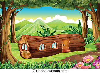 A forest with a log house - Illustration of a forest with a...