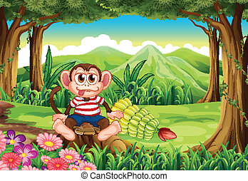 A forest with a monkey above the stump