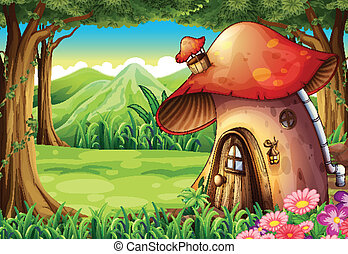 A forest with a mushroom house - Illustration of a forest...
