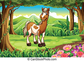 A forest with a smiling horse