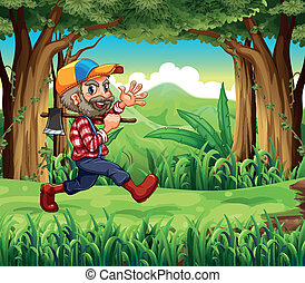 A forest with a smiling woodman holding an axe -...