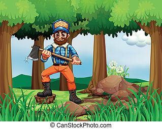 A forest with a woodman holding an axe