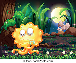 A forest with a yellow monster salivating