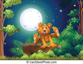 A forest with an energetic bear