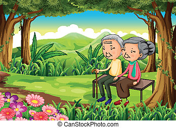 A forest with an old couple