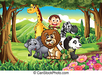 A forest with animals