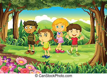 A forest with four kids